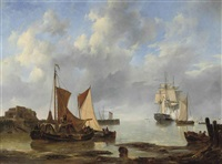 shipping in an estuary with a three-master saluting in the distance by johannes christiaan schotel