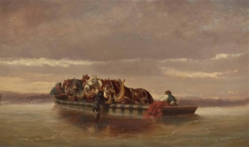 überfuhr von treidelpferden in der wachau by alexander ritter von bensa