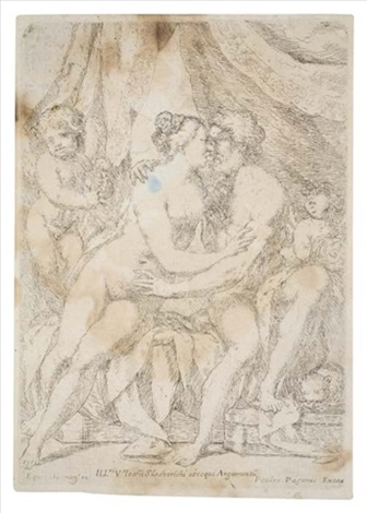 a nude couple seated on a bed by giuseppe diamantini