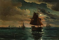 evening atmosphere with sailing ships near kronborg castle by vilhelm victor bille