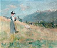 landschaft mit strickender ziegenhirtin by john pierre simonet