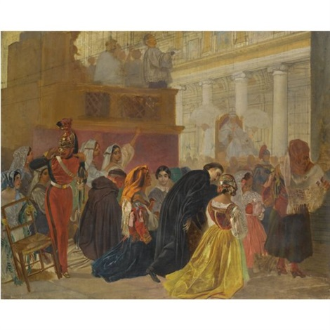 return of pope pius ix to rome in study by karl pavlovich bryullov