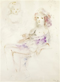 jeune fille assise by leonor fini