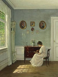 interior of a sunny sitting-room with a woman playing a mandolin by hans hilsoe