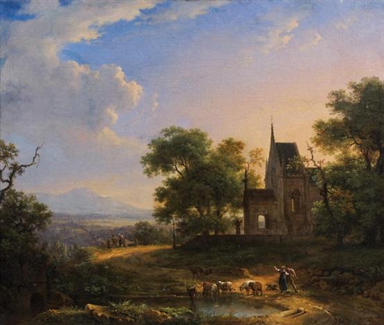 scène pastorale dans un paysage près dune église by achille etna michallon