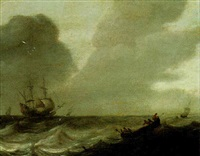 a rowing boat in choppy waters, a man-o'-war beyond by abraham de verwer