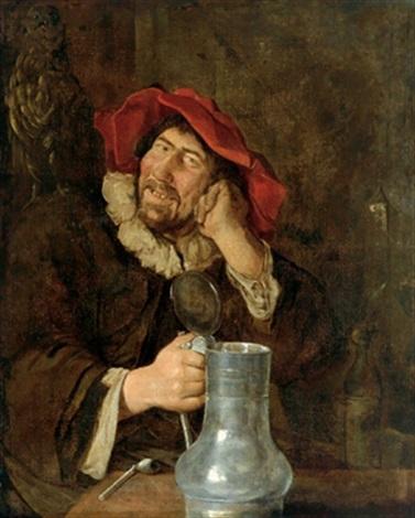 ein fröhlicher trinker links oben eine eule als symbol der weisheit ein moralisierender hinweis auf das törichte handeln des trinkers by frans hals the elder