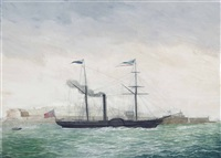 the paddlesteamer manchester of glasgow emerging from grand harbour, valetta, malta by nicolas s. cammillieri