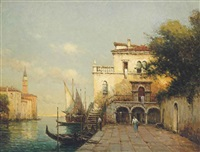 figures by a venetian canal, the campanile beyond by noel georges bouvard