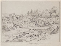 les jardins de tivoli (+ etude d'arbres, verso) by johann joachim faber
