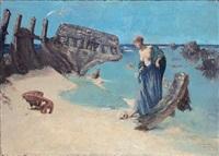 jeune fille contemplant un crâne près d'un bateau naufragé au bord de la mer - ile de bréhal by cornelius ary renan