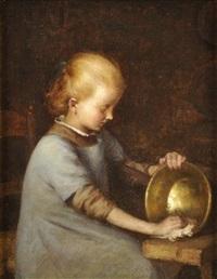 jeune fille à l'ouvrage by jules cyrille cavé