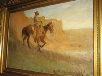 horse and rider in a canyon by gray phineas bartlett