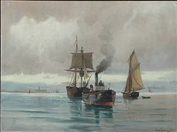 seascape with sailing ships and steamer, in the background kronborg castle by vilhelm victor bille