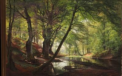 skovsø fra bondedammen ved hellebæk septembermorgen forest lake by carl frederik peder aagaard