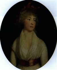portrait de femme au noud rouge by g. p. barbier
