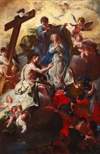 cristo dipinge la vergine immacolata con la croce, dio padre, lo spirito santo e san michele arcangelo che scaccia i demoni agli inferi by domenico antonio vaccaro