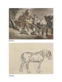 la charrette à charbon (recto); étude d'un cheval (verso ) by théodore géricault