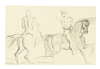 a study of two men on horseback by théodore chassériau