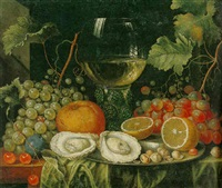 still life of grapes, lemons and oysters on a platter and a glass roemer all resting on a draped table by cornelis de bryer