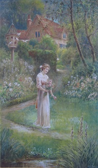 a woman collecting roses in a garden by herbert sidney percy