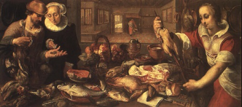 a kitchen scene with figures and a still life by cornelis jacobsz delff