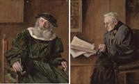 the smoker (+ the scholar; pair) by f. cetl
