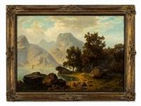 alpine lake by theodor (wilhelm t.) nocken