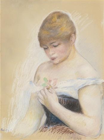 jeune femme tenant une fleur portrait de jeanne samary by pierre auguste renoir