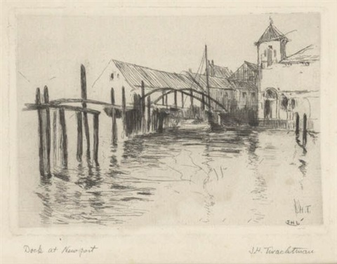 docks at newport by john henry twachtman