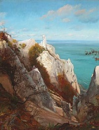 at møns klint on a sunny day by hans christian fischer