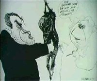 political cartoon. nixon and prime minister wilson shaking hands through charred body by ralph idris steadman