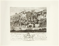 suite de vi vues des environs de rome (portfolio of 6 after j. ph. hackert) by balthasar anton dunker