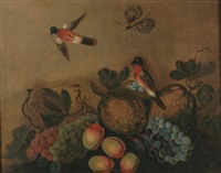 naïve still-life with birds, butterfly, and beetle by american school (18)