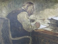 lenin in his study by petr antonovich yablunovsky