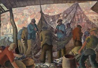 whitby fishermen mending their nets on fish quay by harry epworth allen