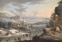winter landscape with skaters on a river and a distant village and castle by johann (jan) christian vollerdt