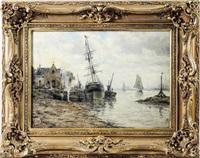 paesaggio marino con barche by amélie burdin