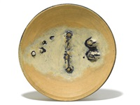 ceramic charger with porcelain plugs by peter voulkos