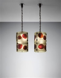 pair of large 'cheerio' lanterns by venini co.