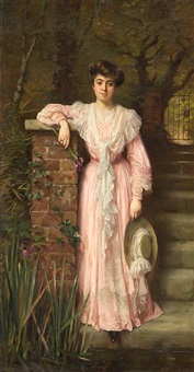 a portrait of a lady in a garden wearing a pink dress holding an iris by thomas benjamin kennington