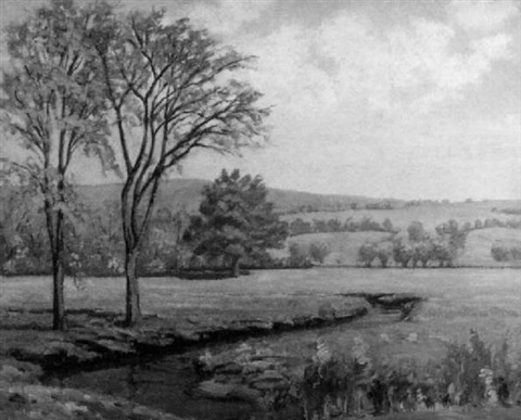 landscape with stream by theodore wendel