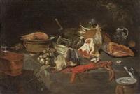 natura morta con crostacei e verdure e natura morta con cacciagione e verdure by alexander adriaenssen the elder