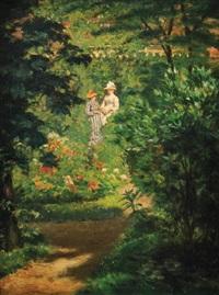 deux élégantes dans un jardin fleuri by pieter willem sebes
