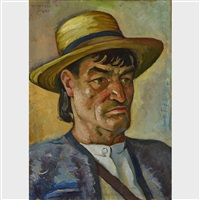 sapantean (peasant from the region in a straw hat) (double-sided) by traian biltiu dancus