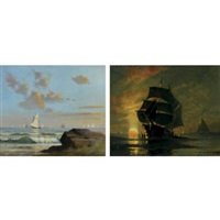 sundown boston harbor (+ north shore coast, 1892, lrgr; 2 works) by frederick r. bates