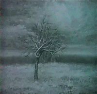 expressionist tree under night sky by m. d. santhy