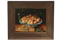 still life of nectarines in chinese bowl by gillis jacobz van hulsdonck