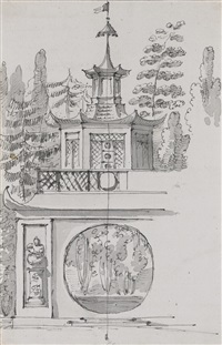 chinese pagoda and entrance to a chapel (2 works) by giacomo quarenghi