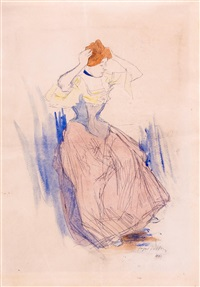 femme se coiffant (+ sketch, verso) by jacques villon